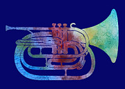 Jazz Band Art - Rainbow Marching French Horn by Jenny Armitage