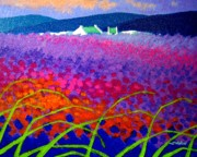 Wine Bottle Paintings - Rainbow Meadow by John  Nolan