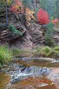 Oak Creek Prints - Rainbow of the Season and River over Rocks Print by Heather Kirk