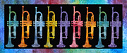 Horns Painting Framed Prints - Rainbow of Trumpets Framed Print by Jenny Armitage