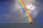 Rainbow On Birdrock- St Lucia. Print by Chester Williams