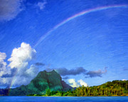 Haleiwa Paintings - Rainbow Over Bora Bora by Dominic Piperata