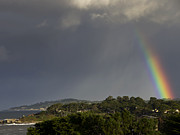 Ocean Front Photos - Rainbow Over Carmel by Mike Herdering