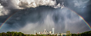 Storm Photos - Rainbow over Charlotte by Chris Austin