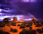 Stock Photo Digital Art Metal Prints - Rainbow Over Monument Valley Metal Print by Daniel Chui