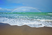 Rainbow Metal Prints - Rainbow Over Ocean Metal Print by John White Photos