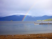 Rainbow Over Priest Lake Print by Carol Groenen