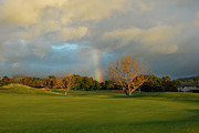 Golf Photos Framed Prints - Rainbow over Princeville Framed Print by Lynn Bauer