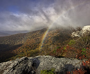 Red Photographs Framed Prints - Rainbow over Rough Ridge - NC Autumn Scene Framed Print by Rob Travis