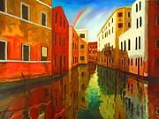 Old Buildings Mixed Media Prints - Rainbow over Venice Print by Dan Haraga