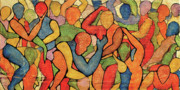Kaleidoscopic Painting Originals - Rainbow Party by Bobby Jones