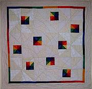 Featured Tapestries - Textiles Originals - Rainbow Pinwheel by Pam Geisel