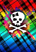 Girly Skull Posters - Rainbow Plaid Skull Poster by Roseanne Jones