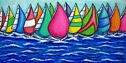 Lisa Lorenz Painting Metal Prints - Rainbow Regatta Metal Print by Lisa  Lorenz