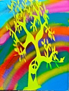 Tree Roots Painting Posters - Rainbow Roots Poster by Tony B Conscious