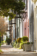 Homes Photo Framed Prints - Rainbow Row Charleston SC 2 Framed Print by Dustin K Ryan