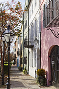 Row Homes Framed Prints - Rainbow Row Charleston SC 3 Framed Print by Dustin K Ryan