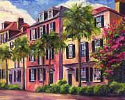 Palm Trees Metal Prints - Rainbow Row Charleston Sc Metal Print by Jeff Pittman