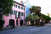 Pink Posters - Rainbow Row Charleston Poster by Susanne Van Hulst