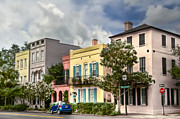 Low Country Framed Prints - Rainbow Row II Framed Print by Drew Castelhano