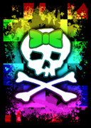 Digital Collage Posters - Rainbow Skull Poster by Roseanne Jones