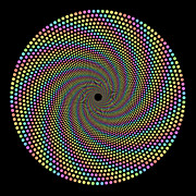 Op Art Digital Art Posters - Rainbow Spiral Mandala Poster by Thomas Cox