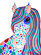 Rainbow Drawings Prints - Rainbow Spotted Horse 2 Print by Nick Gustafson