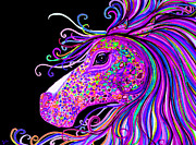Magical Digital Art Prints - Rainbow Spotted Horse Head 2 Print by Nick Gustafson