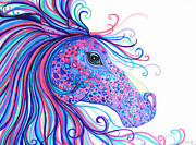 Horses Drawings - Rainbow Spotted Horse by Nick Gustafson
