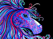 Animals Drawings - Rainbow Spotted Horse2 by Nick Gustafson