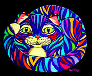 Whimsical Cat Art Prints - Rainbow Striped Cat 2 Print by Nick Gustafson