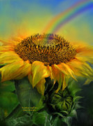 Giclee Mixed Media - Rainbow Sunflower by Carol Cavalaris