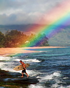 Laniakea Beach Metal Prints - Rainbow Surfer Metal Print by Joel Lau