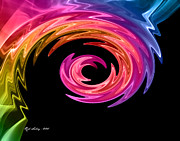 Mixed Media Posters - Rainbow Swirl Poster by Rod Seeley