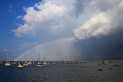 Massachusetts Plymouth Massachusetts Posters - Rainbow Trailing Thunderstorm Poster by John Burk