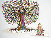 Little Girl Drawings Prints - Rainbow tree dreams Print by Nick Gustafson