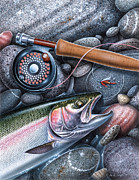Fly Fishing Painting Posters - Rainbow Trout Poster by JQ Licensing