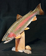 Autumn Sculpture Posters - Rainbow Trout on Maple 15 Poster by Eric Knowlton