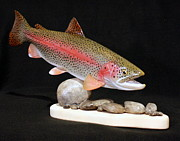 Autumn Sculpture Posters - Rainbow Trout on the Rocks Poster by Eric Knowlton