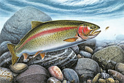 """fly Fishing"" Metal Prints - Rainbow Trout Stream Metal Print by JQ Licensing"