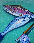 Impressionism Acrylic Prints Art - Rainbow Trout With Grilse by John  Nolan