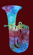 Tuba Prints - Rainbow Tuba Print by Jenny Armitage