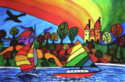 Sailboats Drawings - Rainbow Valley by Monica Engeler
