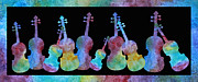 Classical Music Paintings - Rainbow Washed Violins by Jenny Armitage