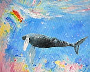 Kauai Artist Paintings - Rainbow Whale by Tamara Tavernier