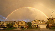 Suburbia Prints - Rainbows Over Suburbia 1 Print by Jessica Velasco