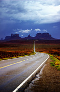 Navajo Nation Posters - Rainclouds over Monument Valley Poster by Ellen Lacey