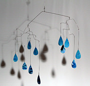Watercolor Art Sculpture Acrylic Prints - Raindrops Kinetic Mobile Sculpture Acrylic Print by Carolyn Weir