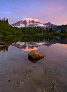 Mt Rainier Prints - Rainier Dawn Breaking Print by Mike  Dawson