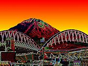 Stadium Digital Art Metal Prints - Rainier over Qwest Field Metal Print by Tim Allen